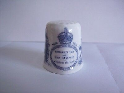 Porcelain China Collectable Thimble Edward and Mrs Simpson