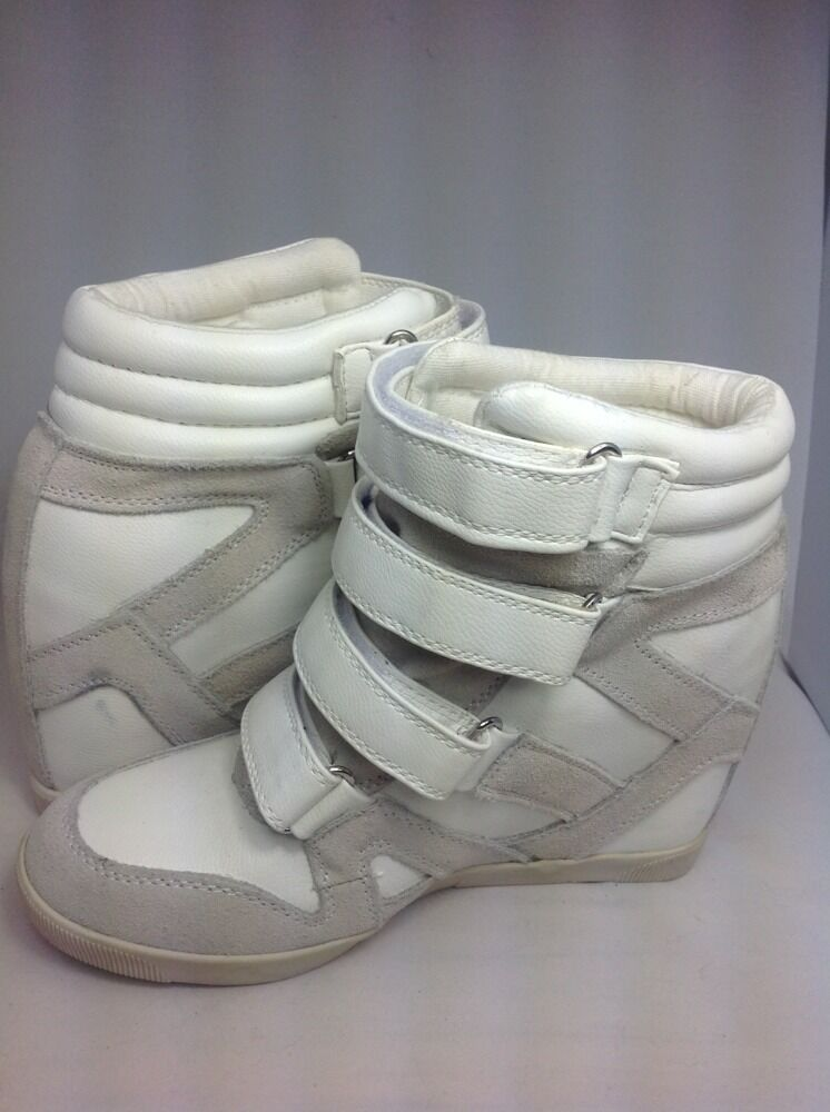 Urban Outfitters BDG Quarter Strap Hi Top Wedge Sneakers WEISS Größe 7
