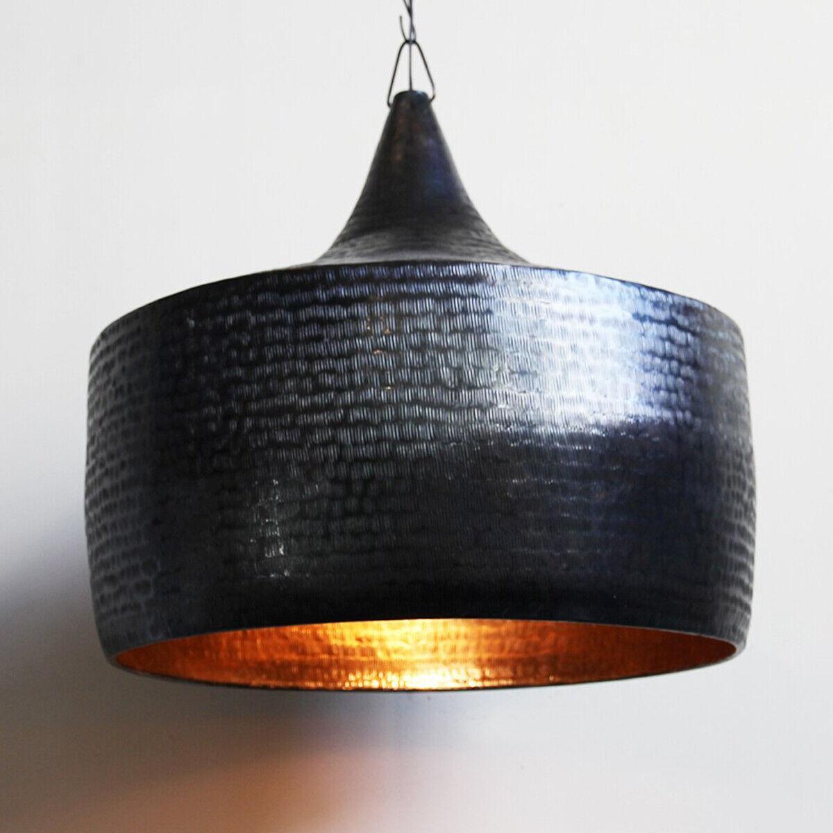 Copper Hammerot Pod Lantern Chandelier Handmade pendant Light Dark Bronze Art