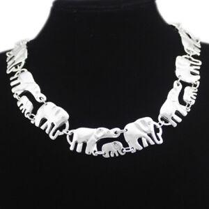 Elefanten Mutter Kind Baby Design Collier Kette Halskette Silber plattiert neu