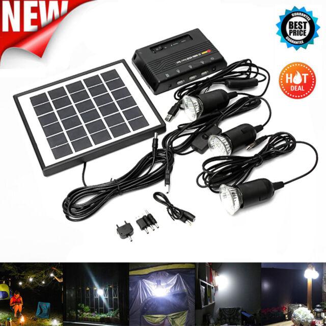 Solar Power Panel Generator LED Light Lamp USB Charger Home System Kit Outdoor