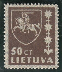 Lithuania 1937. Coat of Arms. Dark brown 50c. MNH