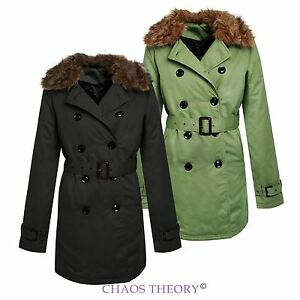 LADIES-DOUBLE-BREASTED-COAT-TRENCH-JACKET-FUR-PADDED-COLLAR-BELTED-WOMENS-MAC