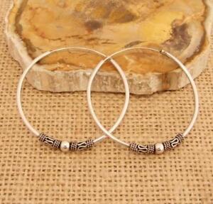 Bali-Style-Sterling-925-Silver-4cm-40mm-Hoop-Sleeper-Earrings