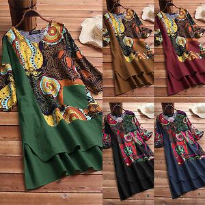 Womens-Summer-V-Neck-3-4-Sleeve-Boho-Floral-Midi-Dress-Vintage-Casual-Plus-Size