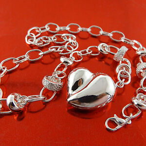 Necklace-Belcher-Chain-Real-925-Sterling-Silver-S-F-Ladies-Heart-Pendant-Design