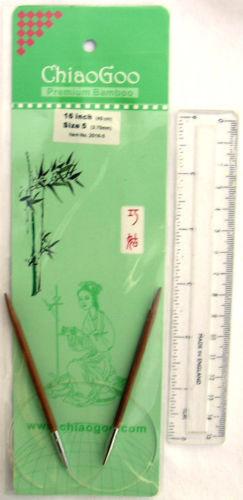 "Assorted Sizes 16/"" ChiaoGoo Bamboo CIRCULAR Knitting Needles"