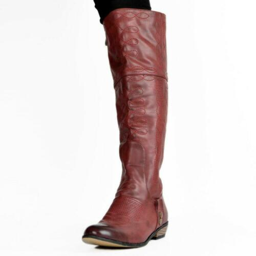 NEW Women Flat Knee High Boots Round Toe Block Heel Vintage Shoes Woman Big Size