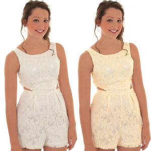 679501c9a53 Ladies Sleeveless Lace Lined Crochet Side Cut Out Romper Tailored ...