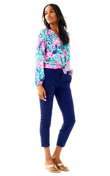 NEW Lilly Pulitzer SHANA STRETCH CROP PANT True Navy bluee Ankle Pants 2 4