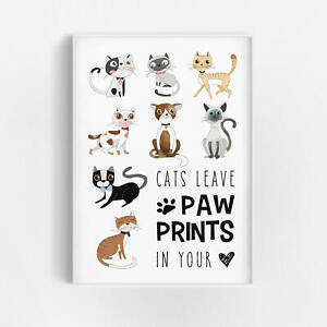 Katzen spruchbild deko poster kunstdruck wandbild modern for Kunstdruck wohnzimmer