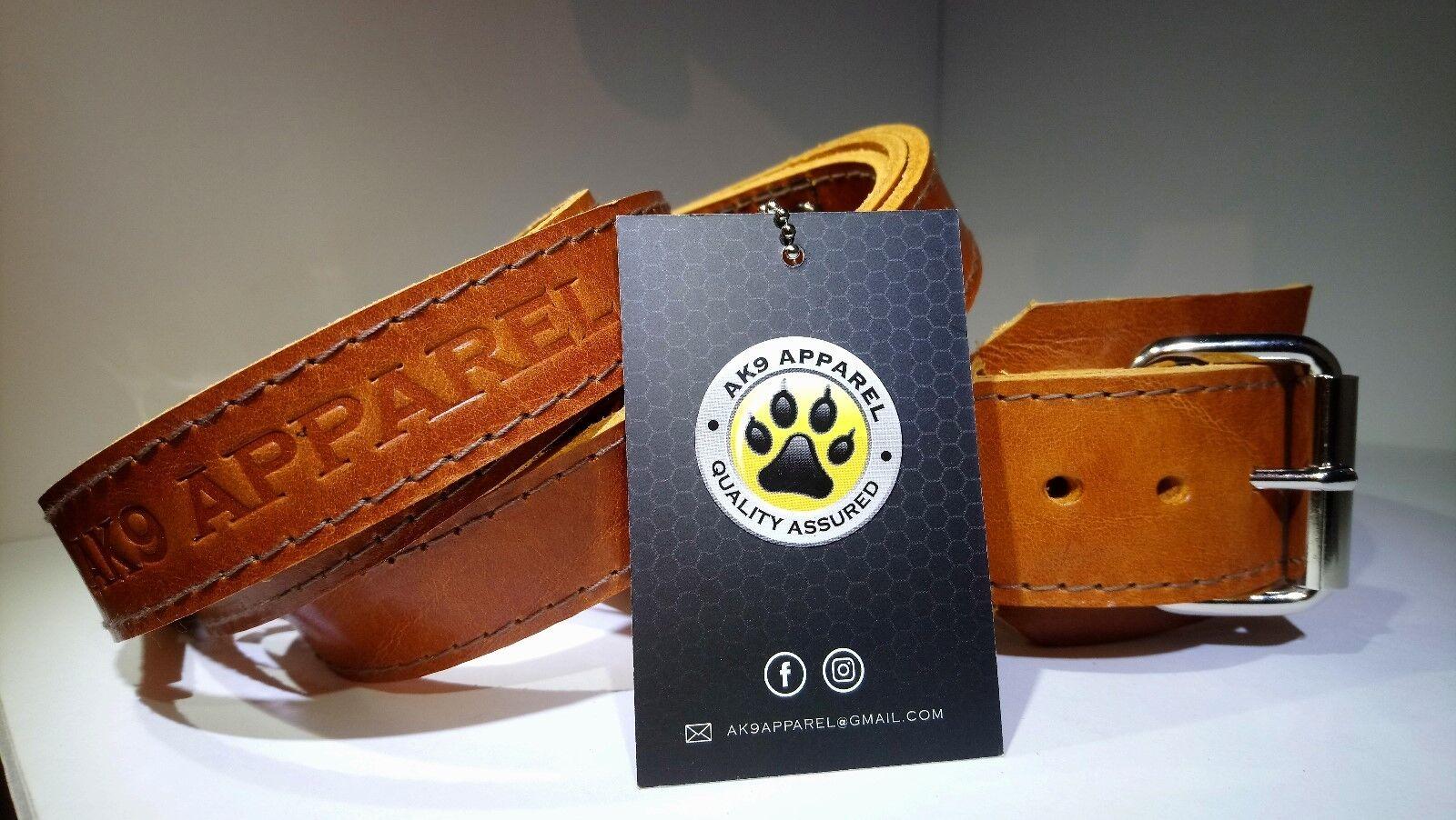 Dog Collar, Leather Medium Dog Patrol Collar and Double Handle Lead Set AK9 043