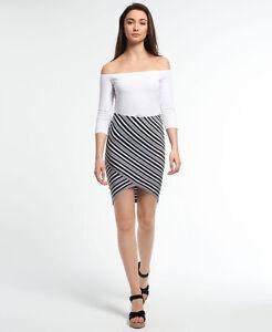 New Womens Superdry Santorini Wrap Skirt Mono Stripe