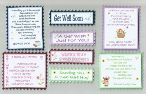 4 GET WELL SOON Greeting Card Craft Scrapbook Verse Toppers W//WO Sentiments