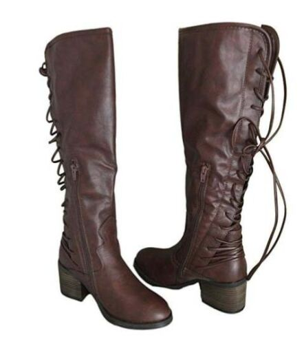 Betseyville by Betsey Johnson Drango Tall Lace-Up Boots Black OR Brown NEW