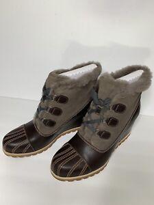 02891c0aa7b UGG Alasdair Wedge Slate Brown Leather Women s Ankle Booties SZ Us ...