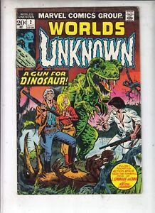 WORLDS-UNKNOWN-2-Marvel-Sci-Fi-1973-034-A-gun-for-Dinosaur-034-Thomas-Mayerick