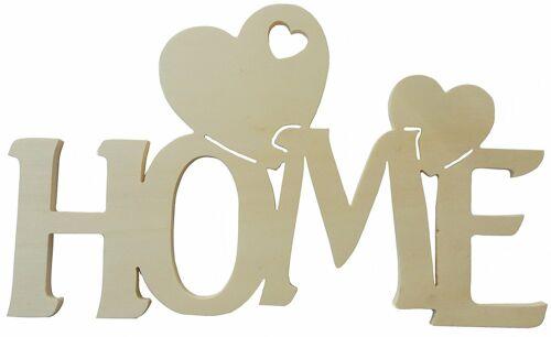 Scritta in legno home con cuore
