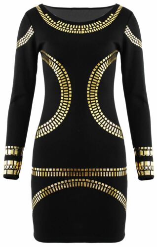 New Ladies Long Gold Foil Pencil Midi Dress Bodycon Party Dresses 16-26