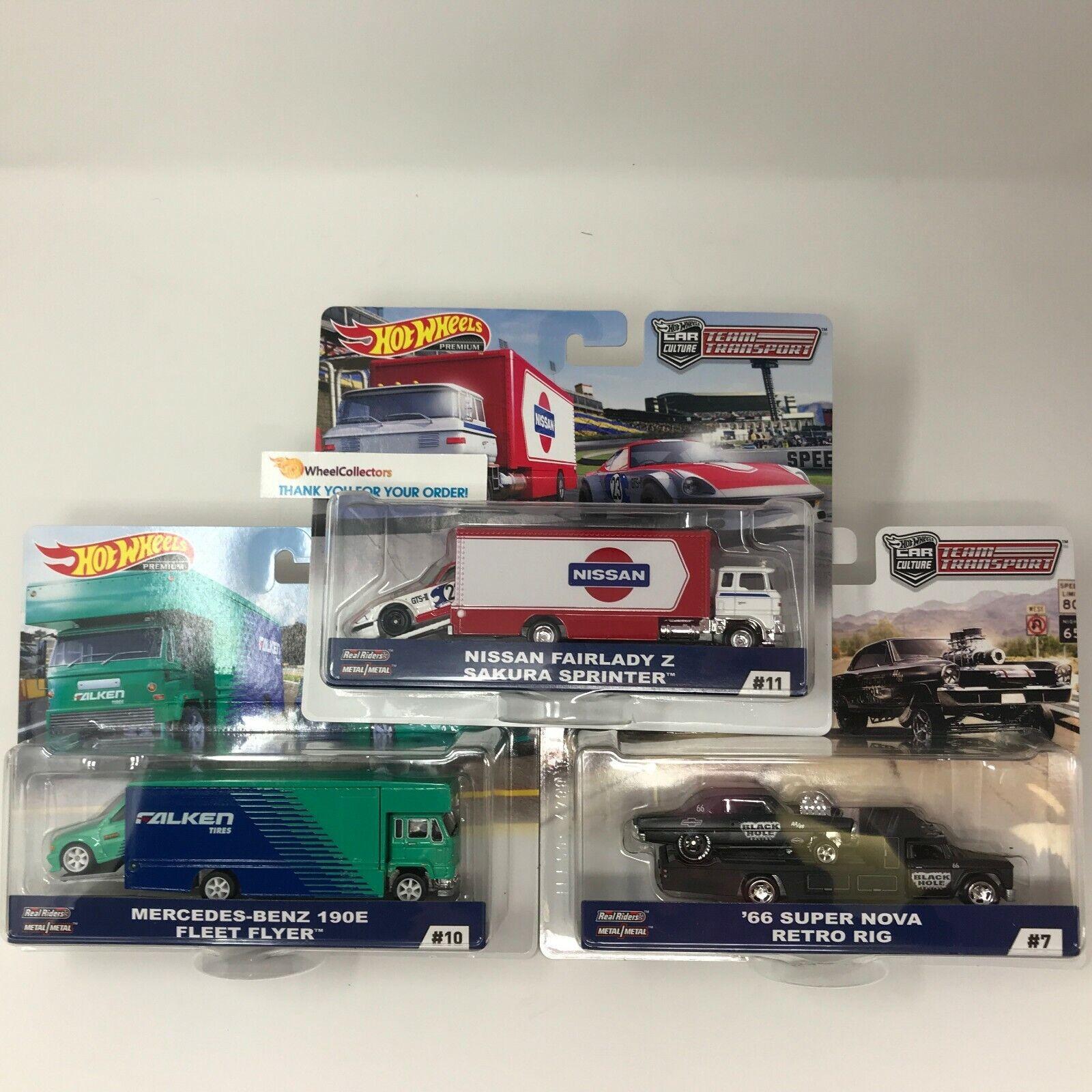 3 Cars  Fairlady Z, Mercedes 190E & Nova  2019 Hot Wheels Team Transport D Case