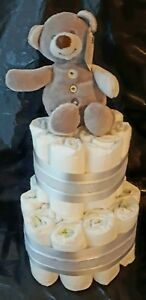 Details about Baby Boy Girl Unisex Nappy Cake Christening Baby Shower Gift  Teddy Personalised