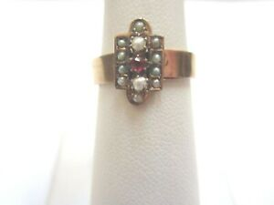 ANTIQUE-10K-YELLOW-GOLD-RING-WITH-SEED-PEARLS-AND-A-RED-STONE