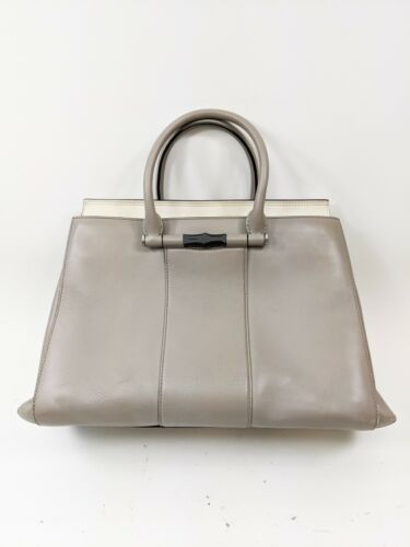 Gucci Gray Leather Lady Bamboo Top Handle Bag Leat