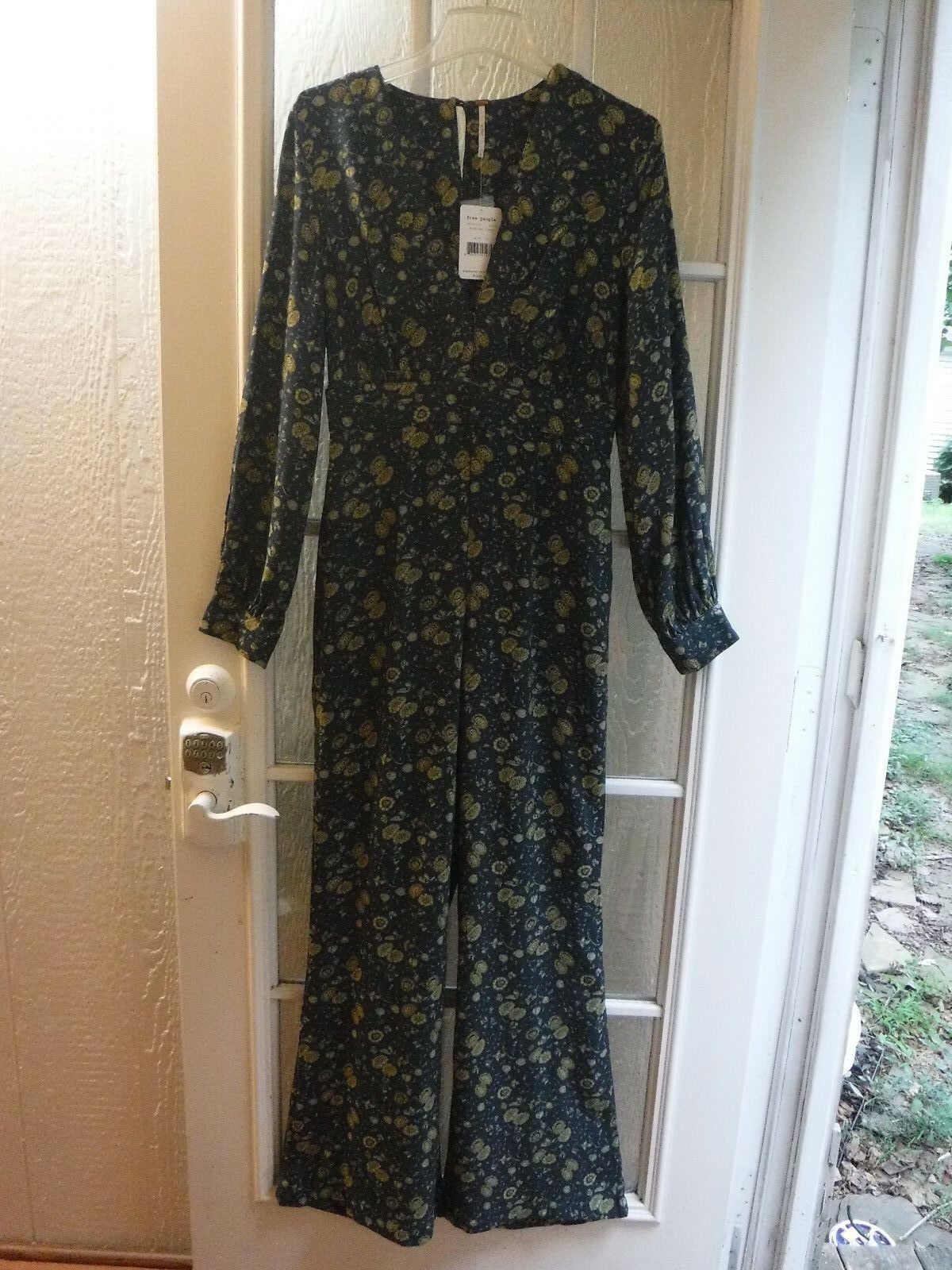 Free People Midnight Combo Floral Dark Green Long S Jumpsuit Women 4  168 NWT