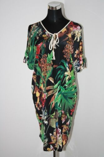 NEW Cold Shoulder Dress Stretchy Black Tropical Soft Cool Feel One Size