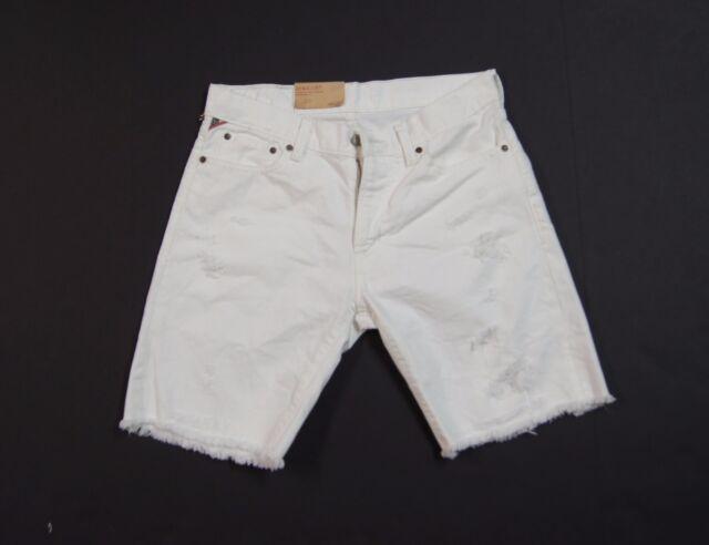 c93778e29 DENIM   SUPPLY RALPH LAUREN Straight Fit Distressed Cut-off Shorts White NWT