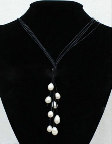 """New Fashion en cuir noir corde /& blanc d/'eau douce collier de perles 20/"""" Long"""