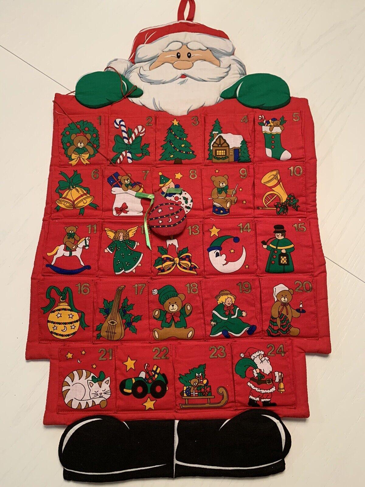Santa Christmas Countdown Fabric Advent Calendar 26 Santa Wall Hanging Red Gree For Sale Online
