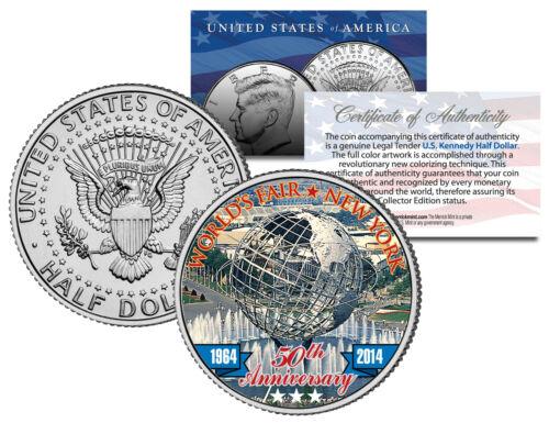 WORLD/'S FAIR 50th Anniversary NEW YORK 1964-2014 Unisphere JFK Half Dollar Coin