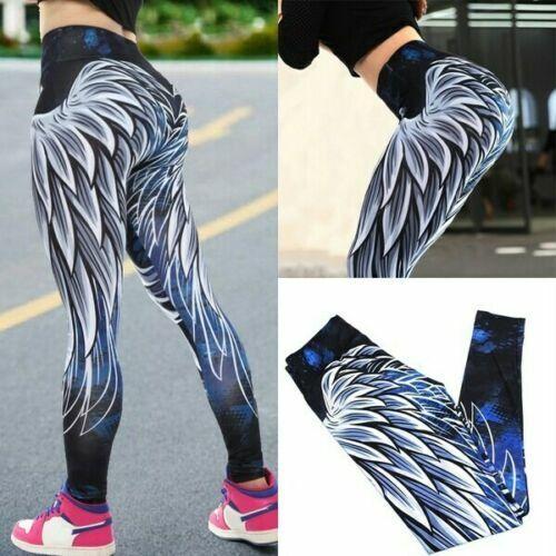 Angel Wing Sport Compression Leggings High Waist Yoga Pants Push Up Fitness US