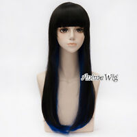 68CM Long Straight Black Mixed Blue Design Girls Women Lolita Style Cosplay Wig
