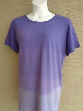 Only Necessities by Woman Within  Purple Dip Dyed Crew Neck Tee Top 1X  22-24W