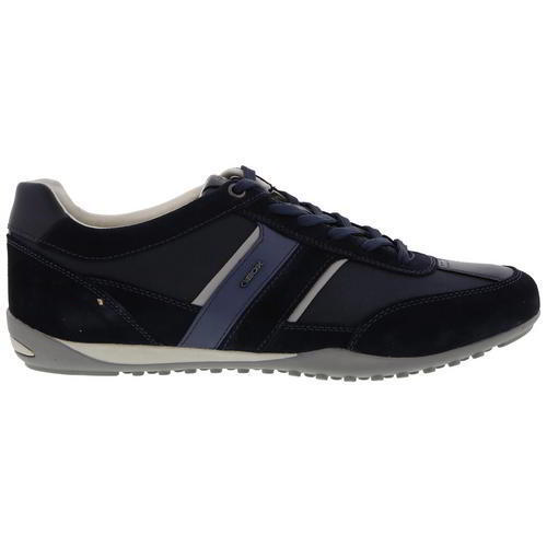 Geox Wells C U52T5C Mens Breathable Grey Blue Leather Trainers Shoes Size 8-11