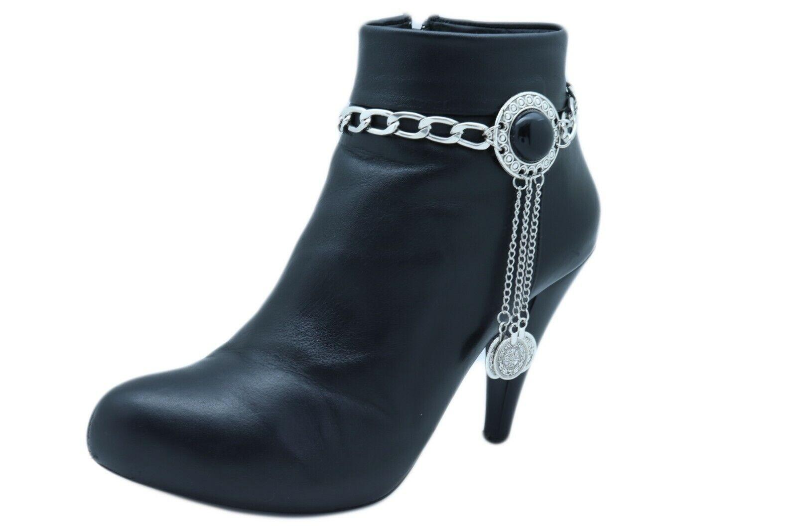 Women Silver Metal Chain Boot Bracelet High Heel Shoe Black Bead Long Coin Charm