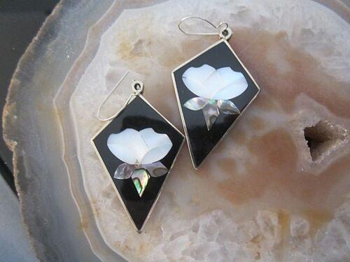 attraktive ohrhänger aus mexiko alpacca  onyx und abalone perlmutt intarsien 1