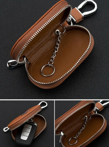 Brown Cowhide leather Car Key Holder Keychain Ring Case Bag Fit For BMW Auto