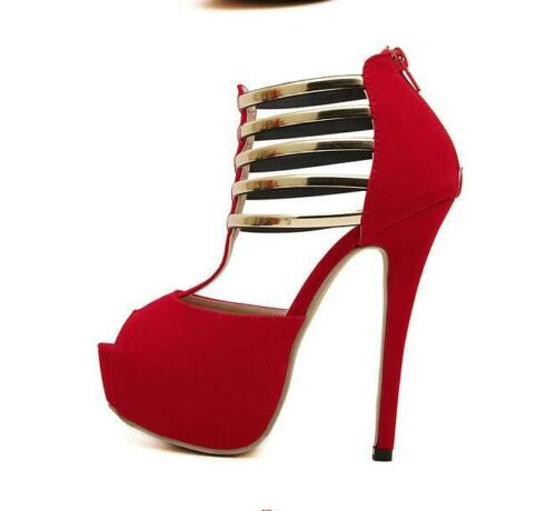 Womens Faux Suede Platform Peep Toe Pumps Dance Party High Heels Stilettos Shoes