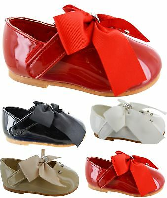 BABY INFANTS GIRLS BOW SHOES CHILDRENS WEDDING SPANISH BRIDESMAIDS TODDLER FLAT