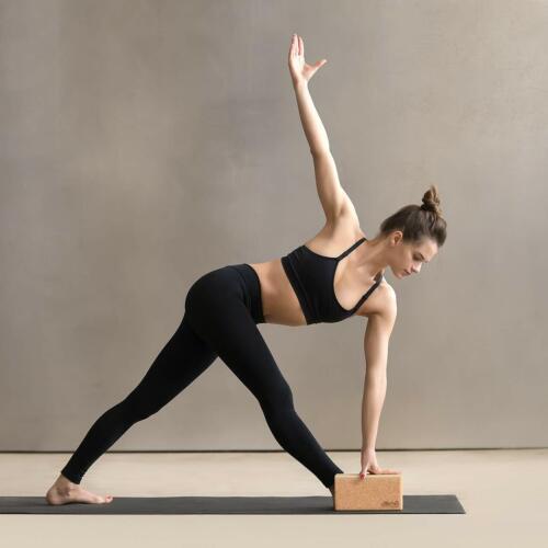 2x Cork Exercise YOGA BLOCKS Brick 2 Set For Fitness Stretching Block Pilates UK