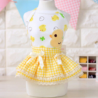 Adorable Dog Slip Dress Clothes Puppy Grid Skirt Apparel for Small Medium Pets