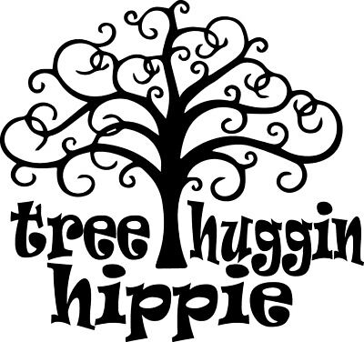 Tree Huggin Hippie Decal Window Bumper Sticker Car Decor Free US Shipping