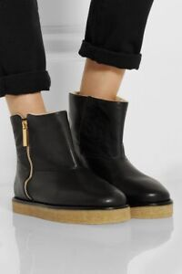 e8306d5a25db Image is loading STELLA-McCARTNEY-Black-Faux-Leather-amp-Shearling-Ankle-