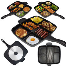 Non-Stick Five-in-one Divide Grill/Fry/Oven Meal Skillet Black square baking pan
