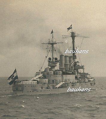 Foto Reichsmarine-Flottenflaggschiff Schleswig Holstein mit Hindenburg (n625)