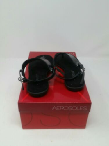 Aerosoles Womens Conchlusion Black Snake T-Strap Sandals Size 6 M US