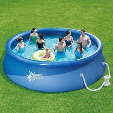 """Round Above Ground Swimming Pool with Filter Summer Escapes 15' x 36"""" Quick Set"""